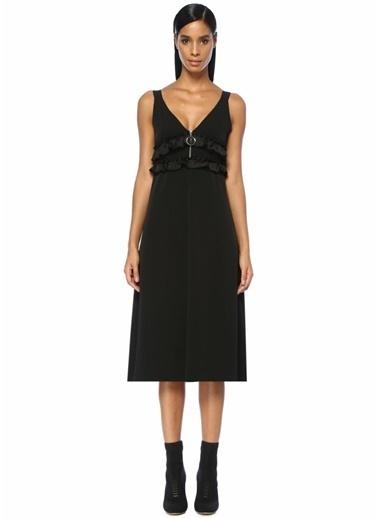 Academia V Yaka Fermuarlı Fırfırlı Midi Elbise Siyah